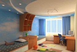 Натяжной потолок – стильное оформление детской комнаты